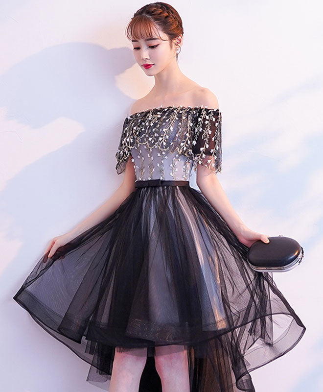 Black tulle lace short prom dress, black tulle homecoming dress