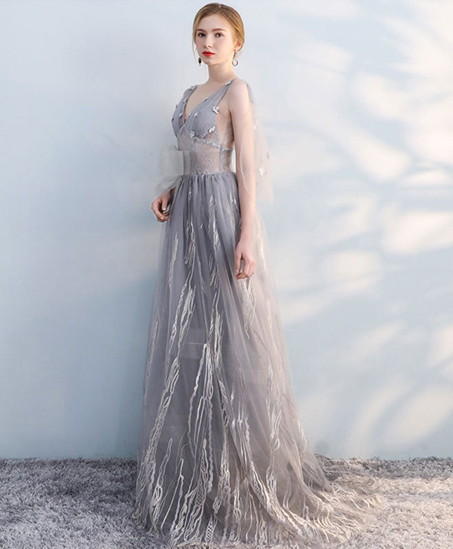 Gray v neck tulle lace long prom dress, tulle evening dress