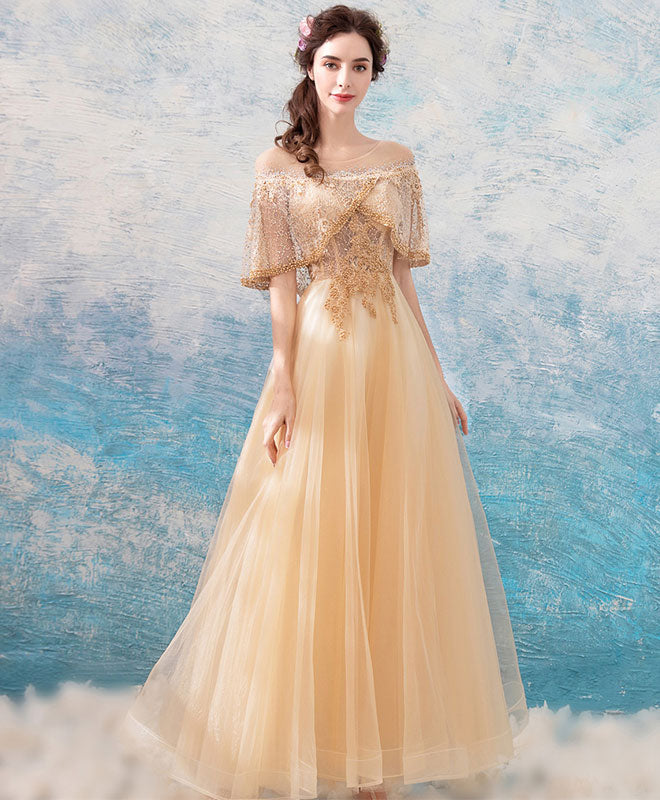8d9eed46192d7 Unique champagne tulle lace tea length prom dress, champagne tulle evening  dress