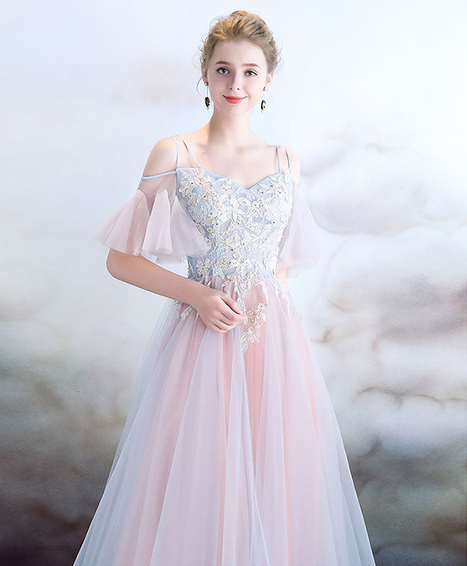 Elegant light pink tulle long prom dress, pink evening dress – shopluu