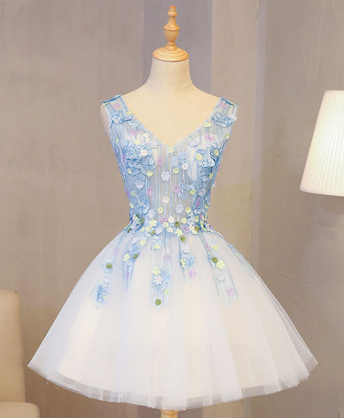 Cute blue lace applique short prom dress, homecoming dress