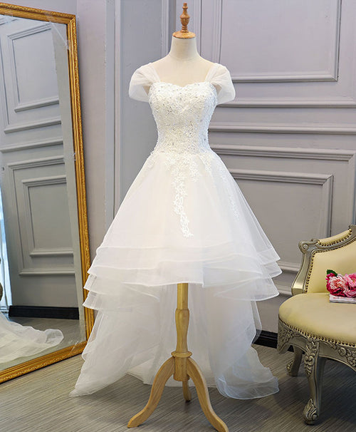 White lace tulle high low long wedding dress, bridal dress
