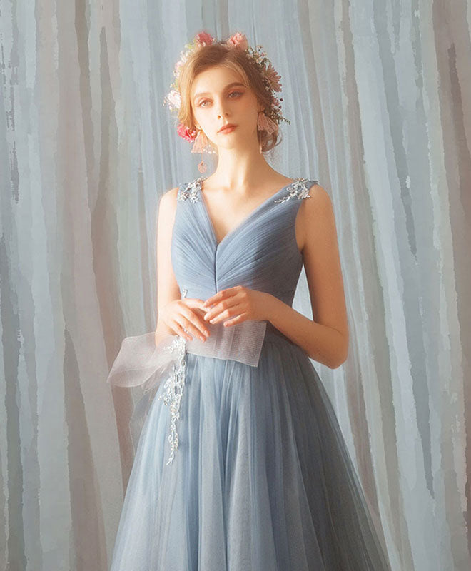 Blue v neck tulle long prom dress, blue tulle formal dress