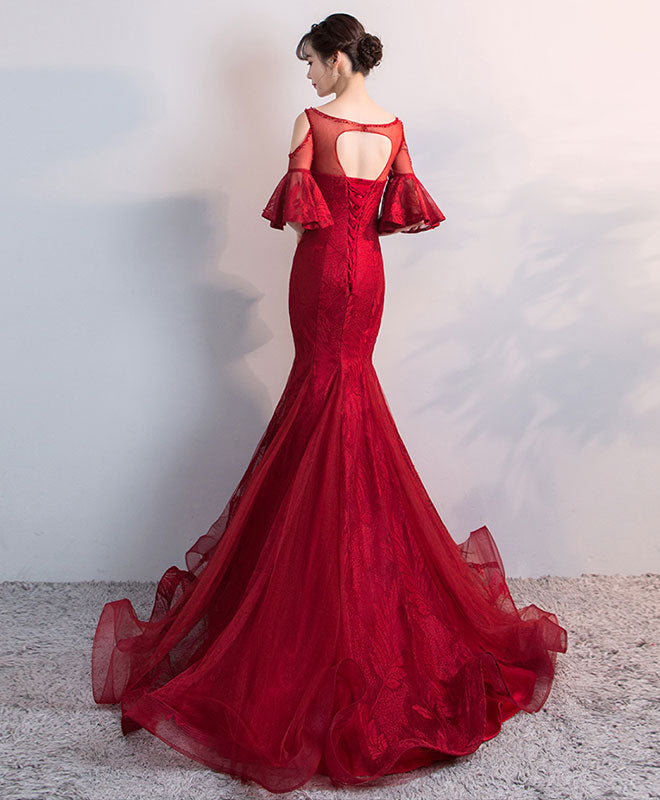 Burgundy round neck tulle lace mermaid long prom dress, evening dress