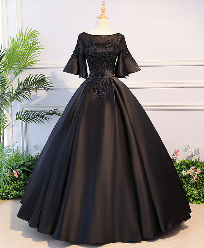 Black round neck satin lace long prom dress, sweet 16 dress