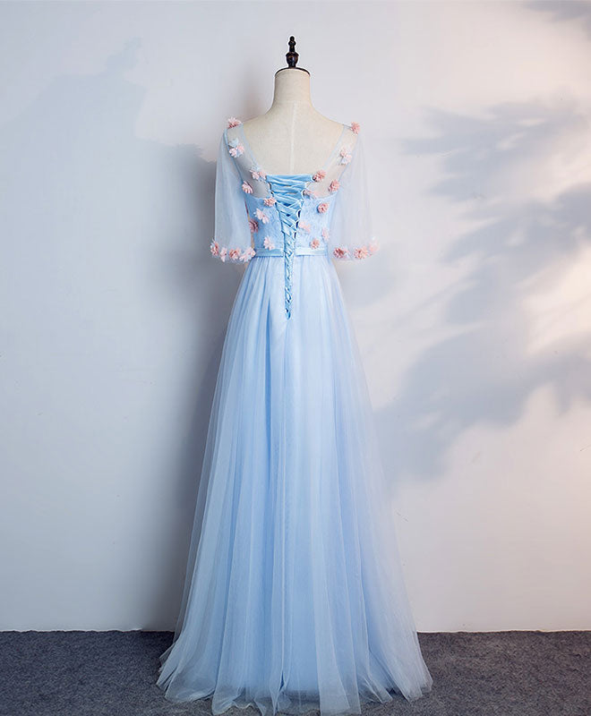 Blue round neck tulle 3D applique long prom dress, blue evening dress