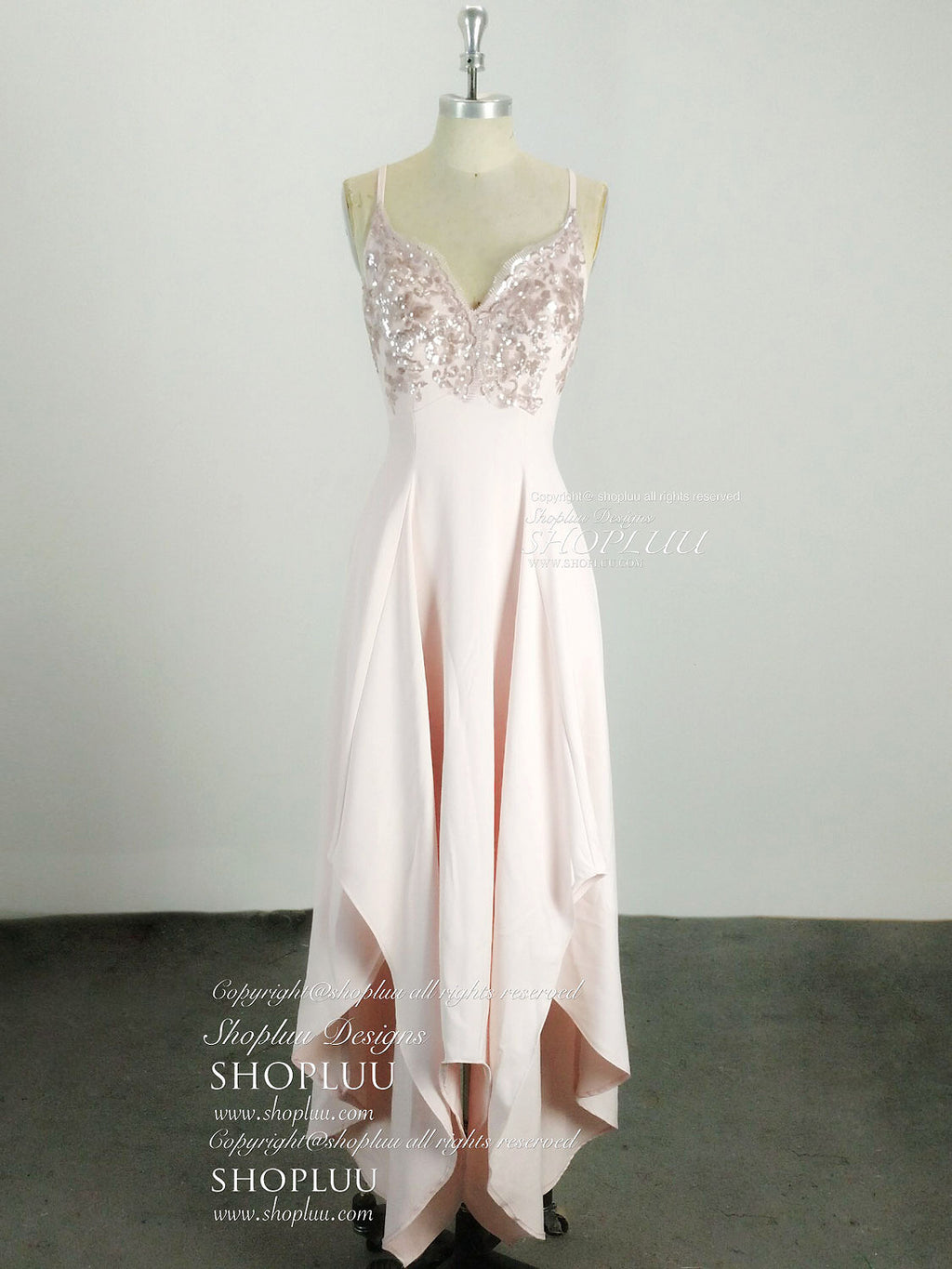 Simple sweetheart pink sequin long prom dress, simple evening dress