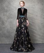 Unique black satin long prom dress, black evening dress