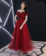Burgundy tulle lace prom dress, burgundy tulle evening dress