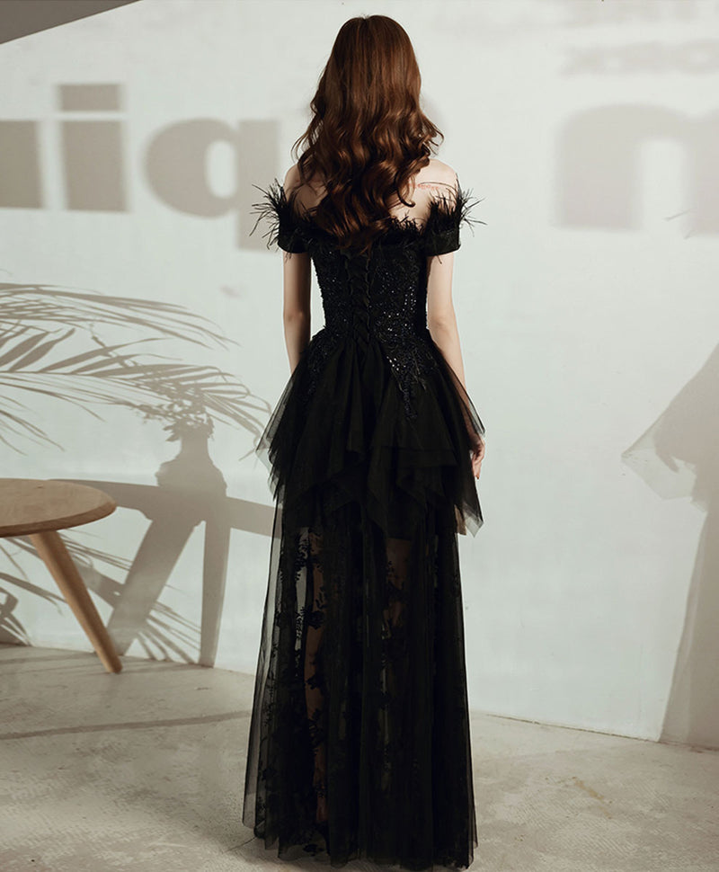 Black tulle lace long prom dress black tulle lace evening dress
