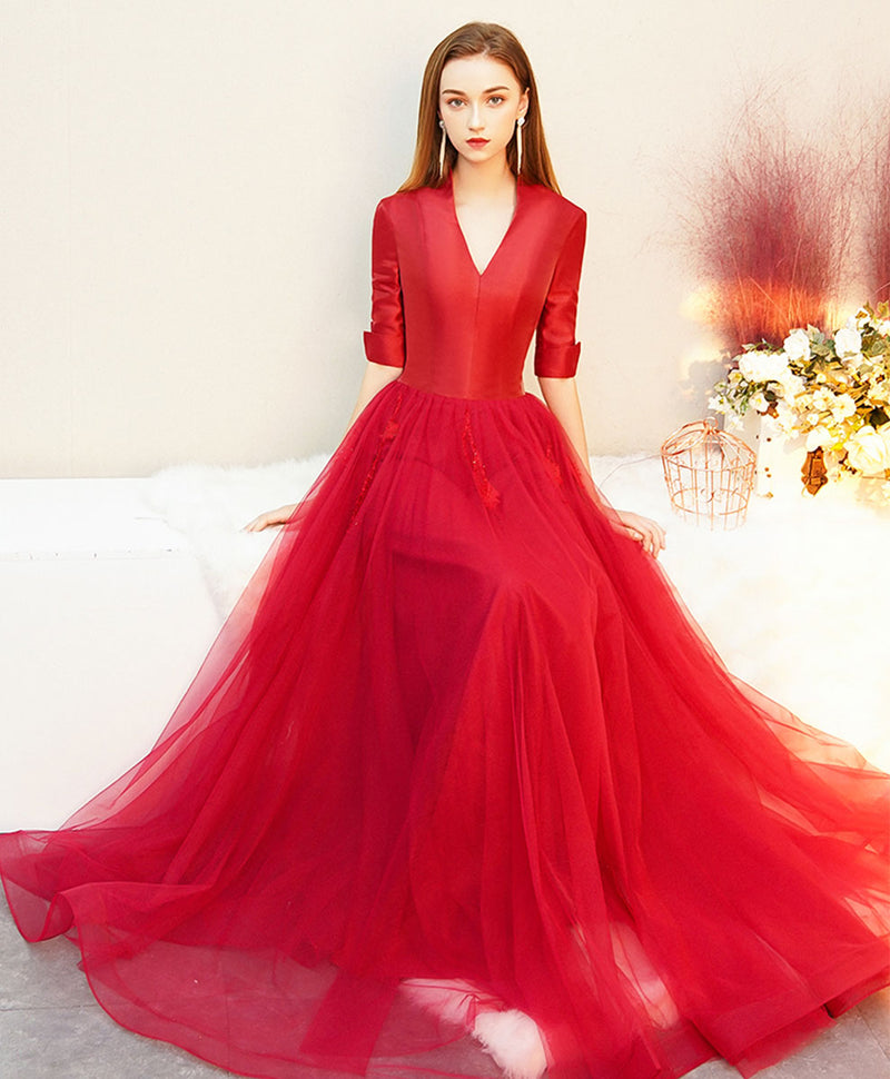 Red v neck satin long prom dress red tulle formal dress
