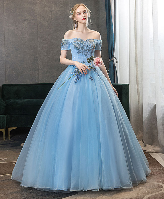 Blue off shoulder tulle lace long prom gown blue lace formal gown