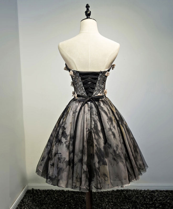 Black lace tulle short prom dress, black homecoming dress