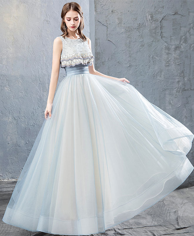 Cute tulle lace long prom dress, tulle evening dress