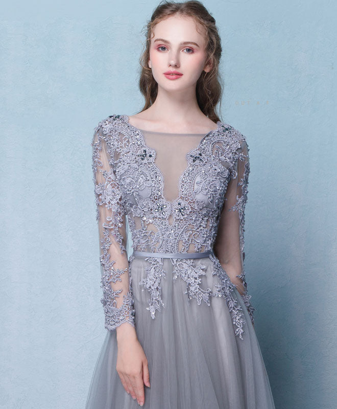 Gray round neck lace tulle long prom dress, gray lace evening dress