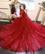 Burgundy v neck tulle lace long prom dress burgundy formal dress