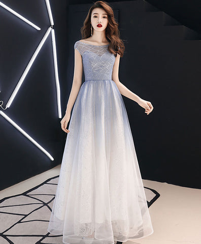 Light blue v neck lace long prom dress, evening dress