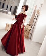 Simple sweetheart burgundy long prom dress, evening dress
