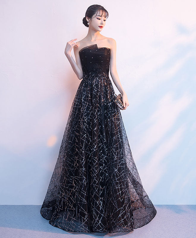 Black tulle sequin long prom dress, black sequin evening dress