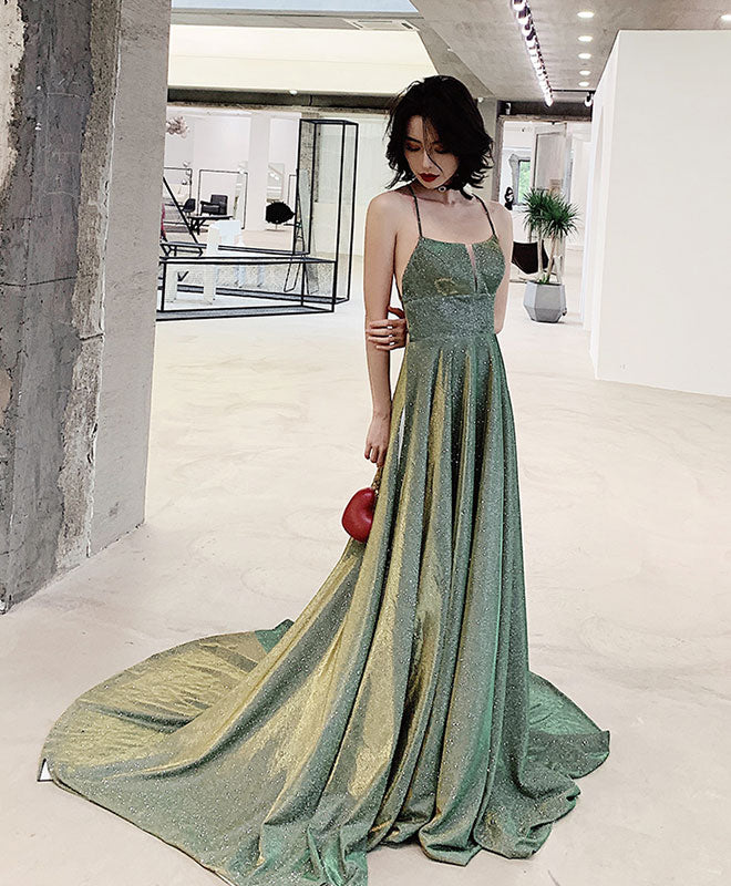 Unique backless long prom dress, green evening dress