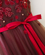 Burgundy v neck lace applique tulle long prom dresses