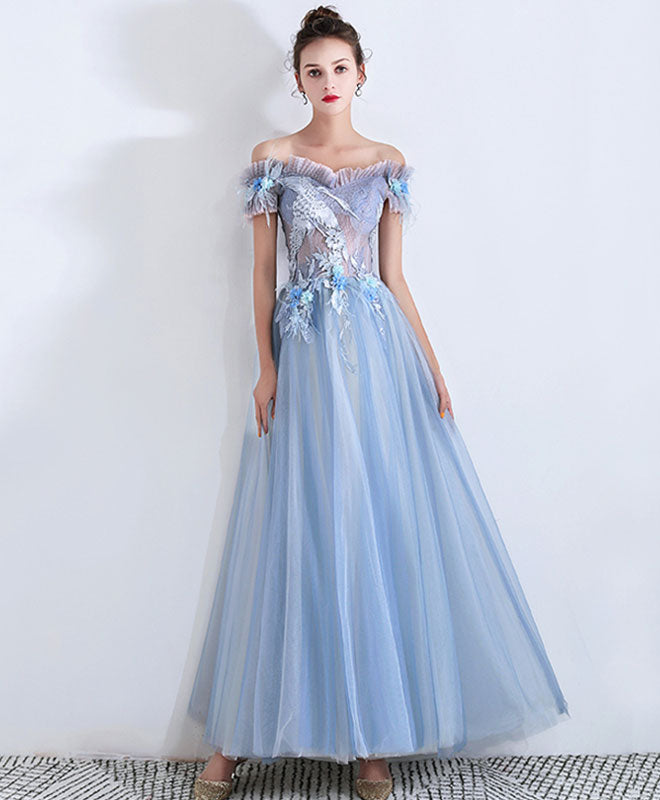 Blue sweetheart lace long prom dress, blue tulle evening dress