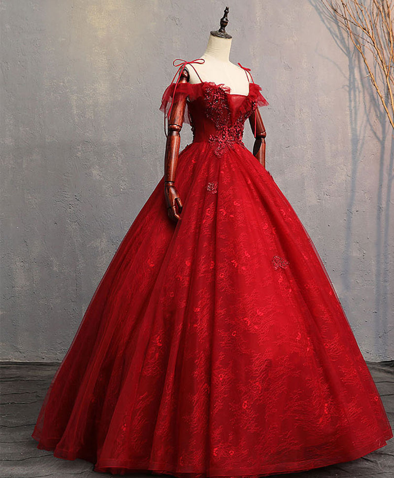 Burgundy sweetheart tulle lace long prom gown, lace formal dress
