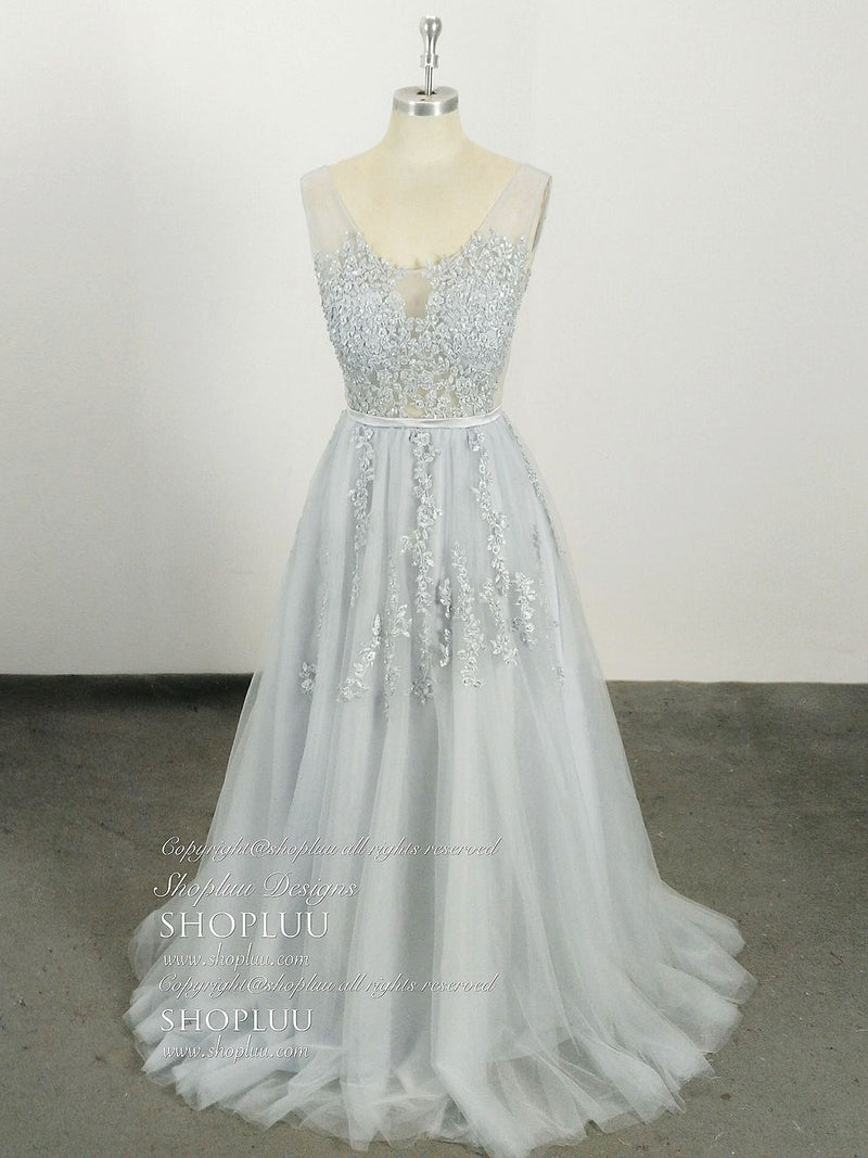 Gray tulle lace long prom dress, gray tulle lace bridesmaid dress