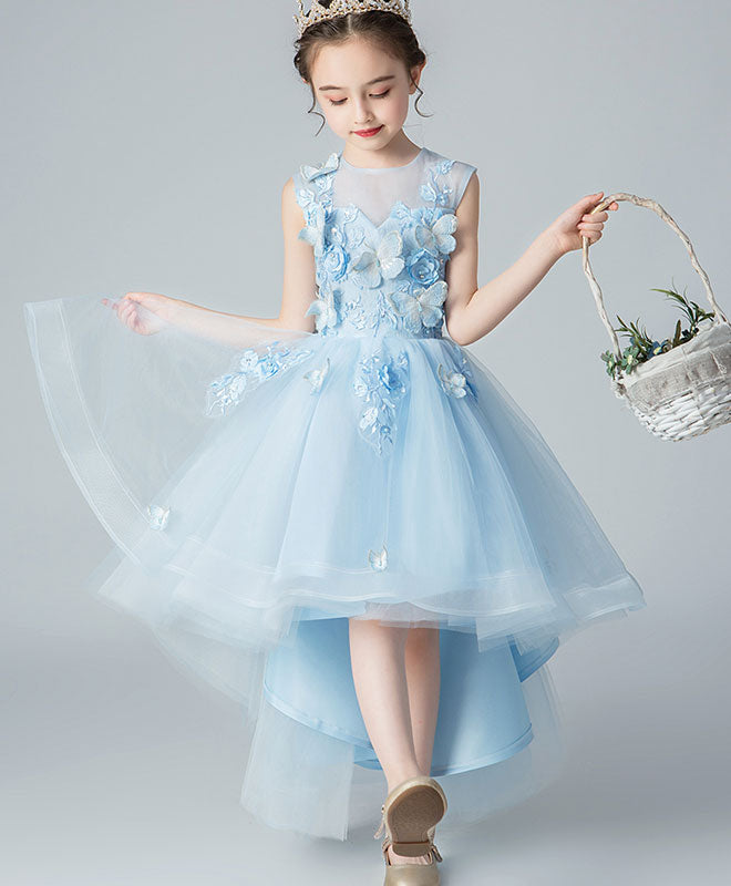 Blue round neck tulle high low lace prom dress, flower girl dress