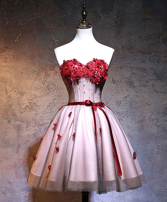 Red sweetheart neck lace short prom dress
