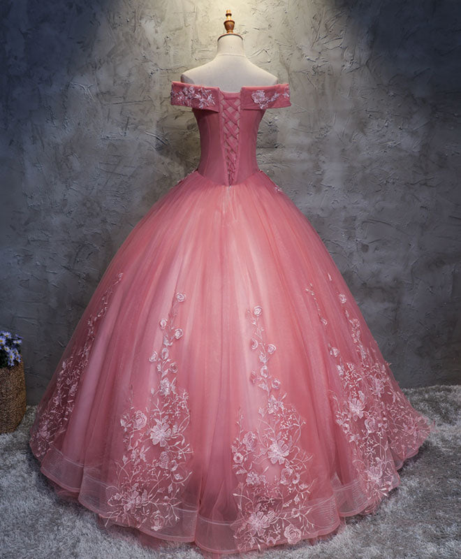 Pink tulle lace off shoulder long prom dress pink tulle evening dress