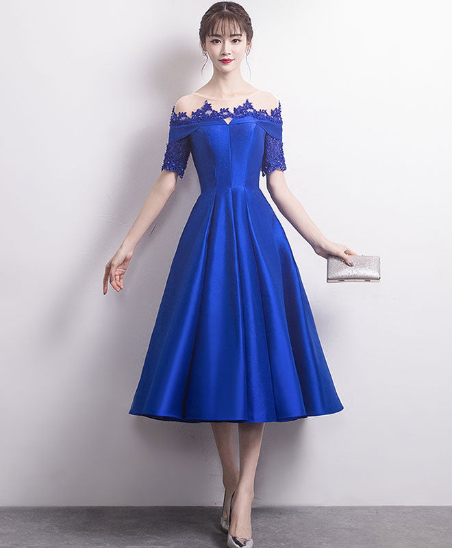 Blue round neck satin lace prom dress, blue bridesmaid dress