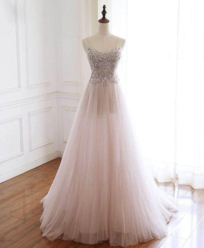 Pink sweetheart beads tulle long prom dress, pink evening dress