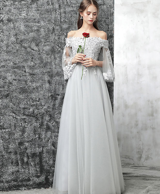 Gray off shoulder tulle lace long prom dress, gray evening dress