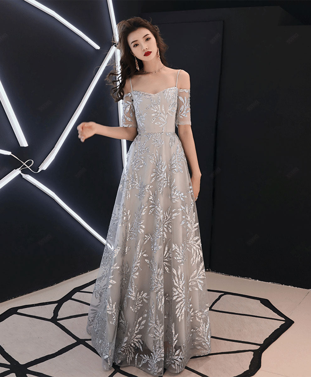 Gray tulle lace long prom dress gray lace evening dress