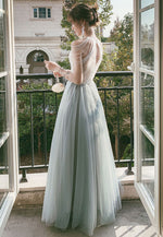 Gray tulle sequin beads long prom dress tulle formal dress