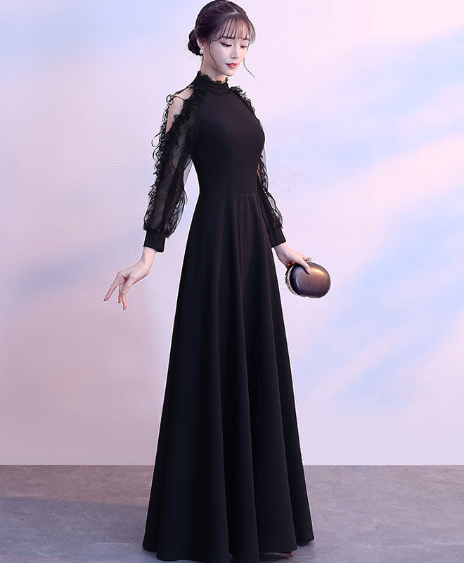 Black lace Long sleeve long prom dress, black evening dress