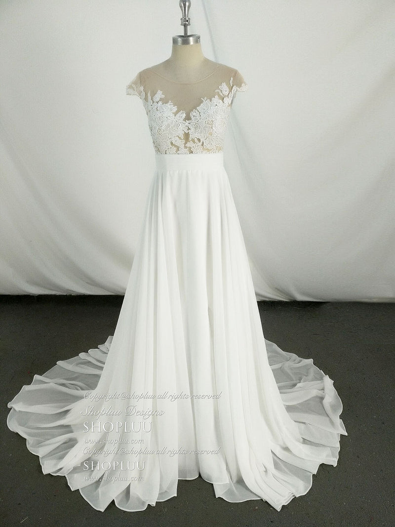 White round neck chiffon lace long prom dress, lace bridesmaid dress