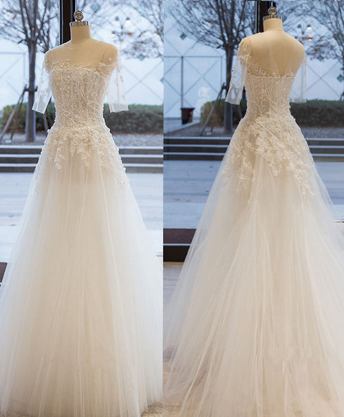 White tulle lace long prom dress, white tulle evening dress