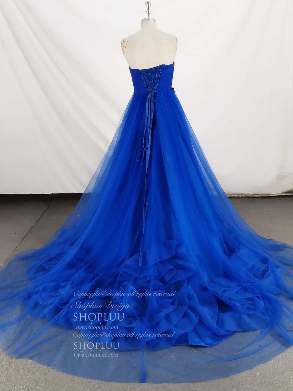 Unique blue sweetheart tulle long prom dress blue formal dress