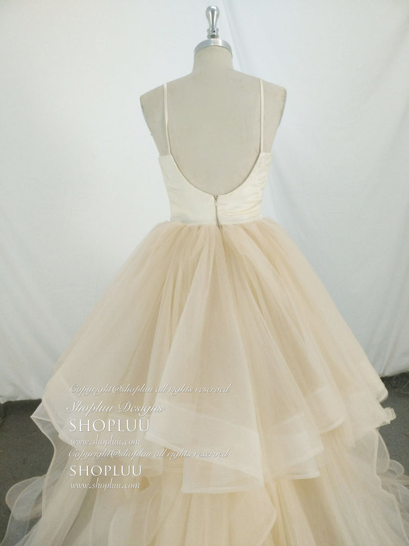 Champagne tulle long prom dress, tulle evening dress