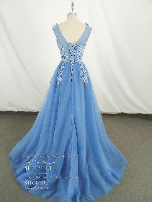 Blue round neck tulle lace long prom dress 4f7a46e93