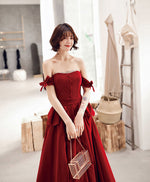 Burgundy sweetheart long prom dress, simple burgundy evening dress