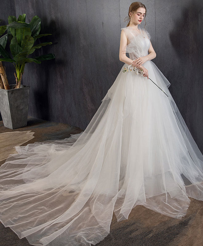 White tulle long wedding dress, white tulle long bridal dress