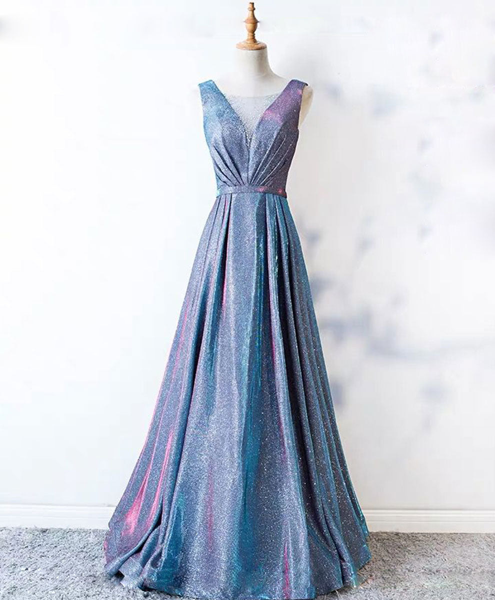 Unique blue sequin long prom dress blue formal dress