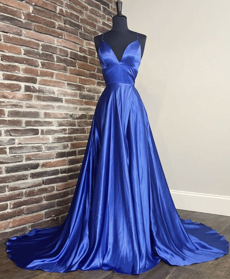 Simple v neck blue satin long prom dress blue formal dress