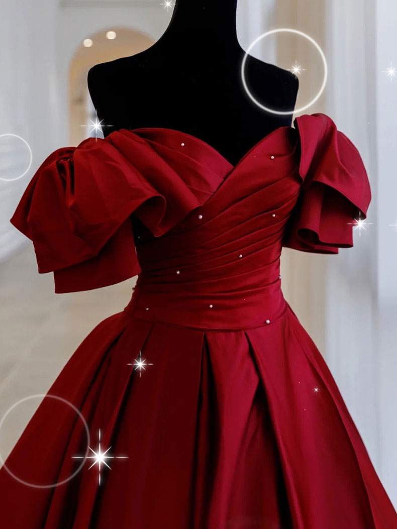 Simple burgundy satin long prom dress burgundy long evening dress