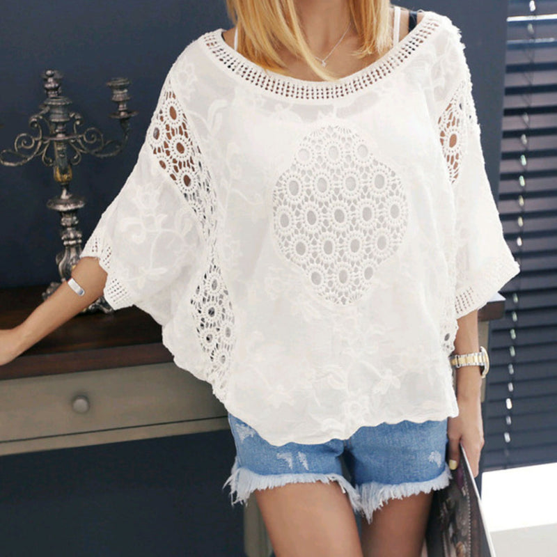 White lace sun protection clothing Holiday beach clothes