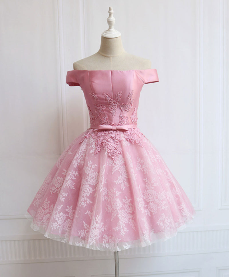 Pink tulle of shoulder lace short prom dress lace formal dress