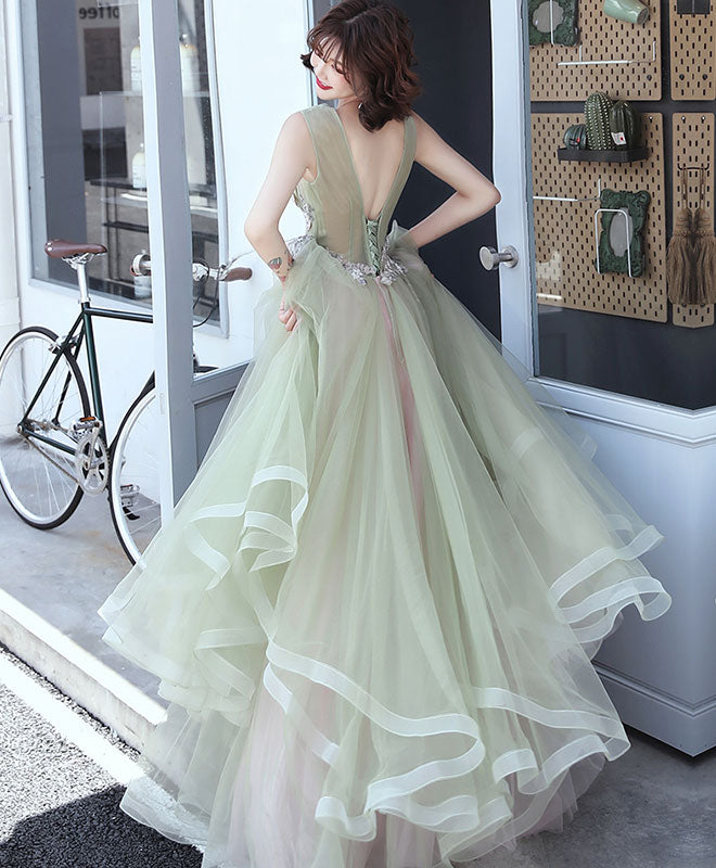 Green v neck tulle lace long prom dress, green formal dress